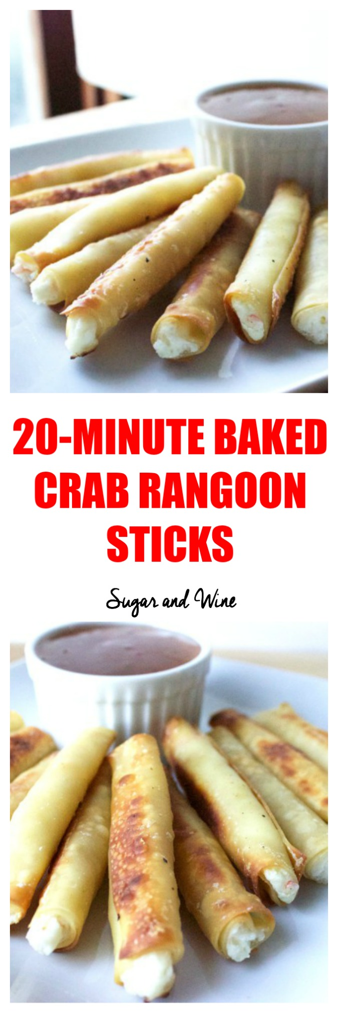 20 Minute Baked Crab Rangoon Sticks | Sugar and Wine