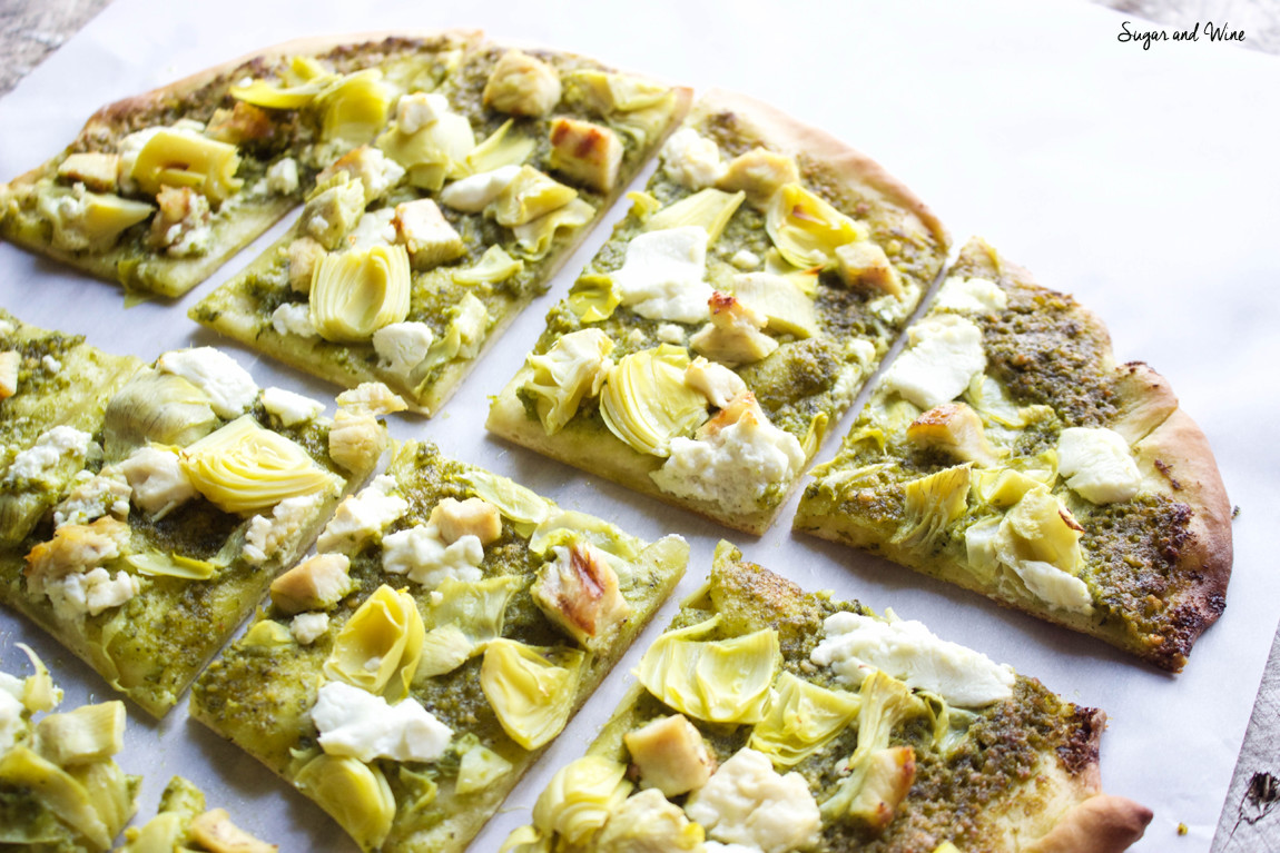 Pesto Artichoke and Goat Cheese Thin Crust Pizza | Sugar and Wine
