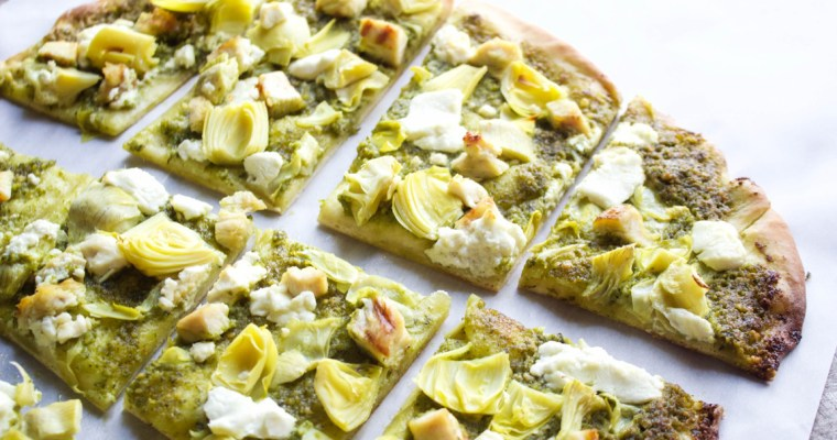 Pesto Artichoke and Goat Cheese Thin Crust Pizza