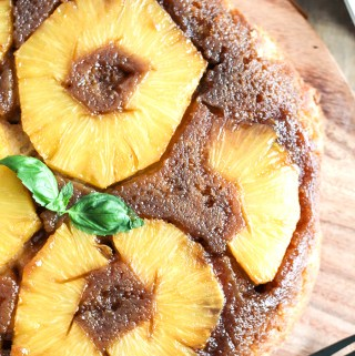 Pineapple Upside Down Cake with Basil Rum Glaze
