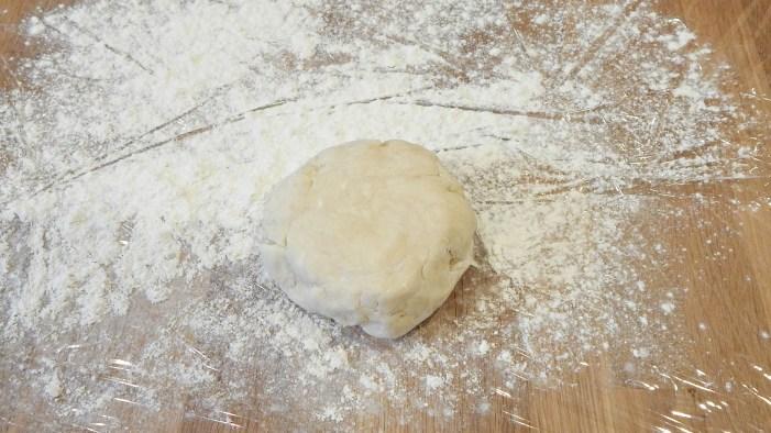 pie crust mound of dough on floured surface for lemon meringue pie on SugarBananas.com