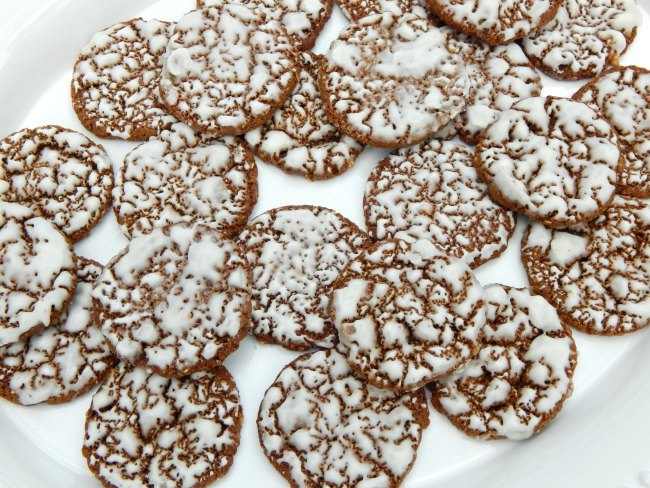 Tray of Iced Oatmeal Cookies on www.sugarbananas.com