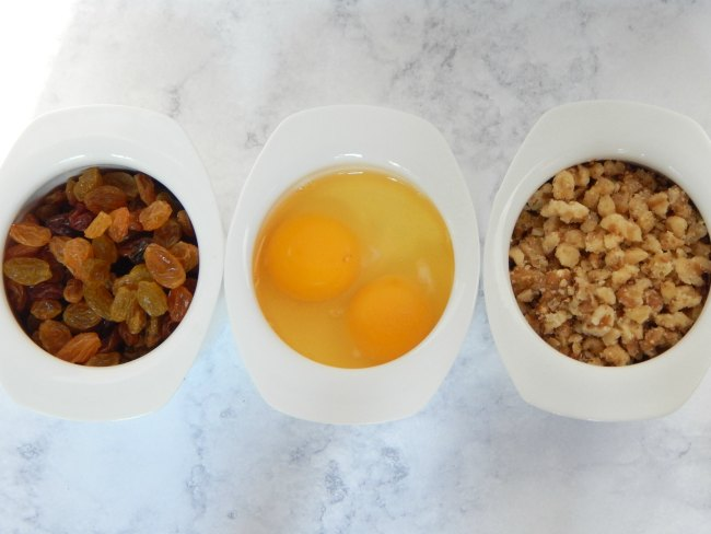 raisins eggs and walnuts for iced oatmeal cookies on www.sugarbananas.com