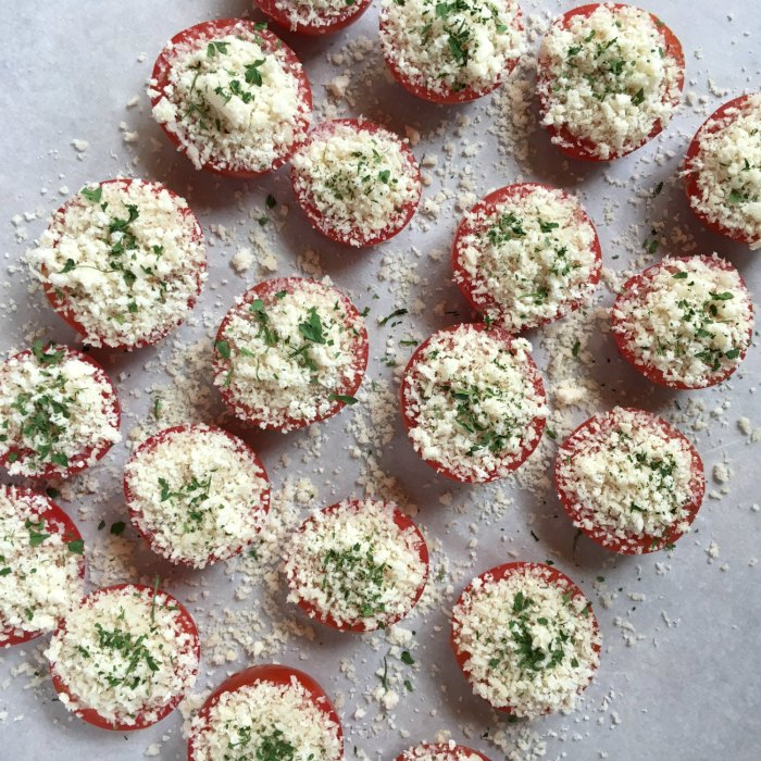 campari tomato halves appetizer covered in parmesan and panko bread crumbs panko parmesan tomatoes