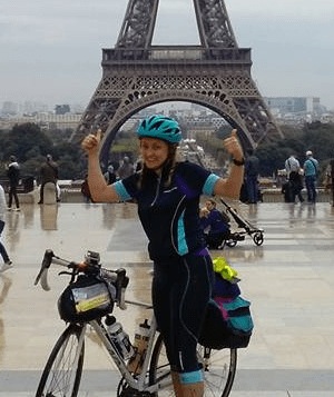 Kelly, after cycling 200 miles to the Eiffel Tower