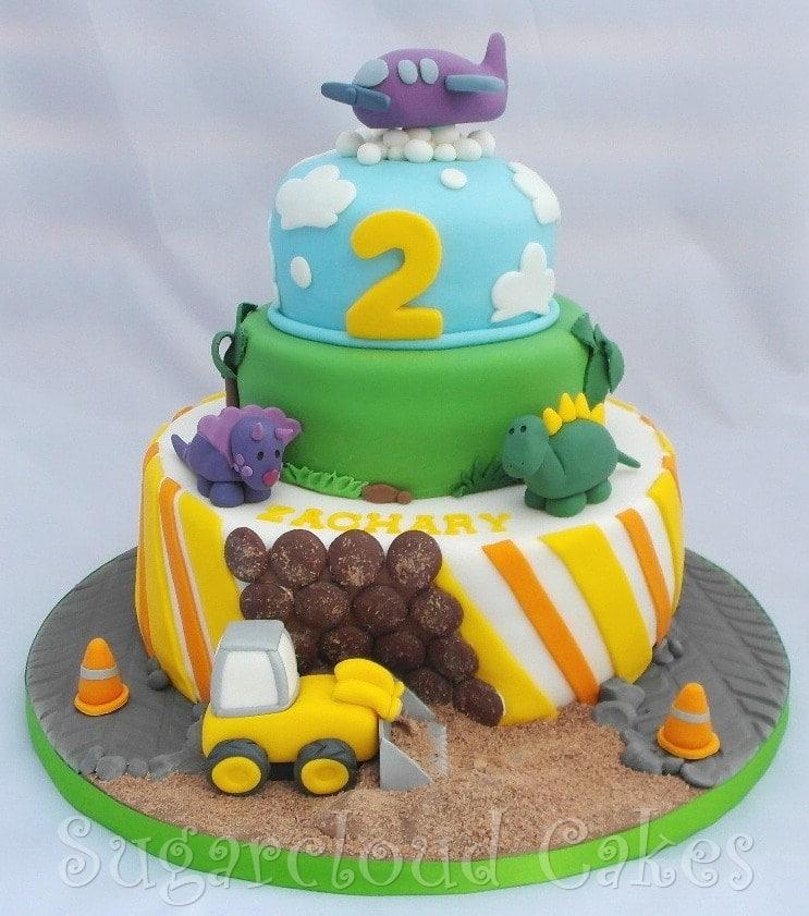 Digger, Dinosaur and Plane Birthday Cake