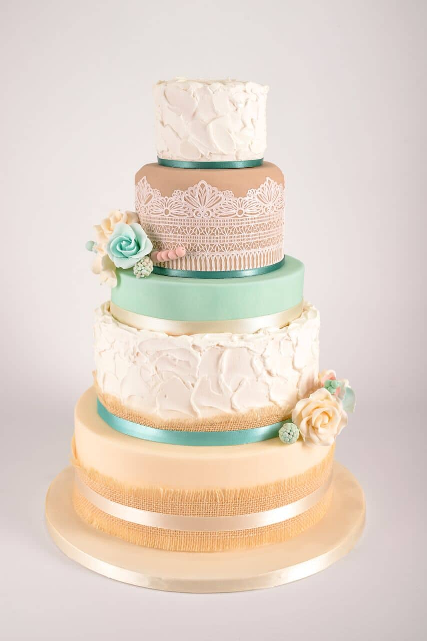 Teal / Cream Textured Wedding Cake