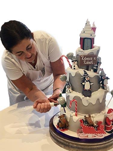 Christmas themed wedding cake, Cranage