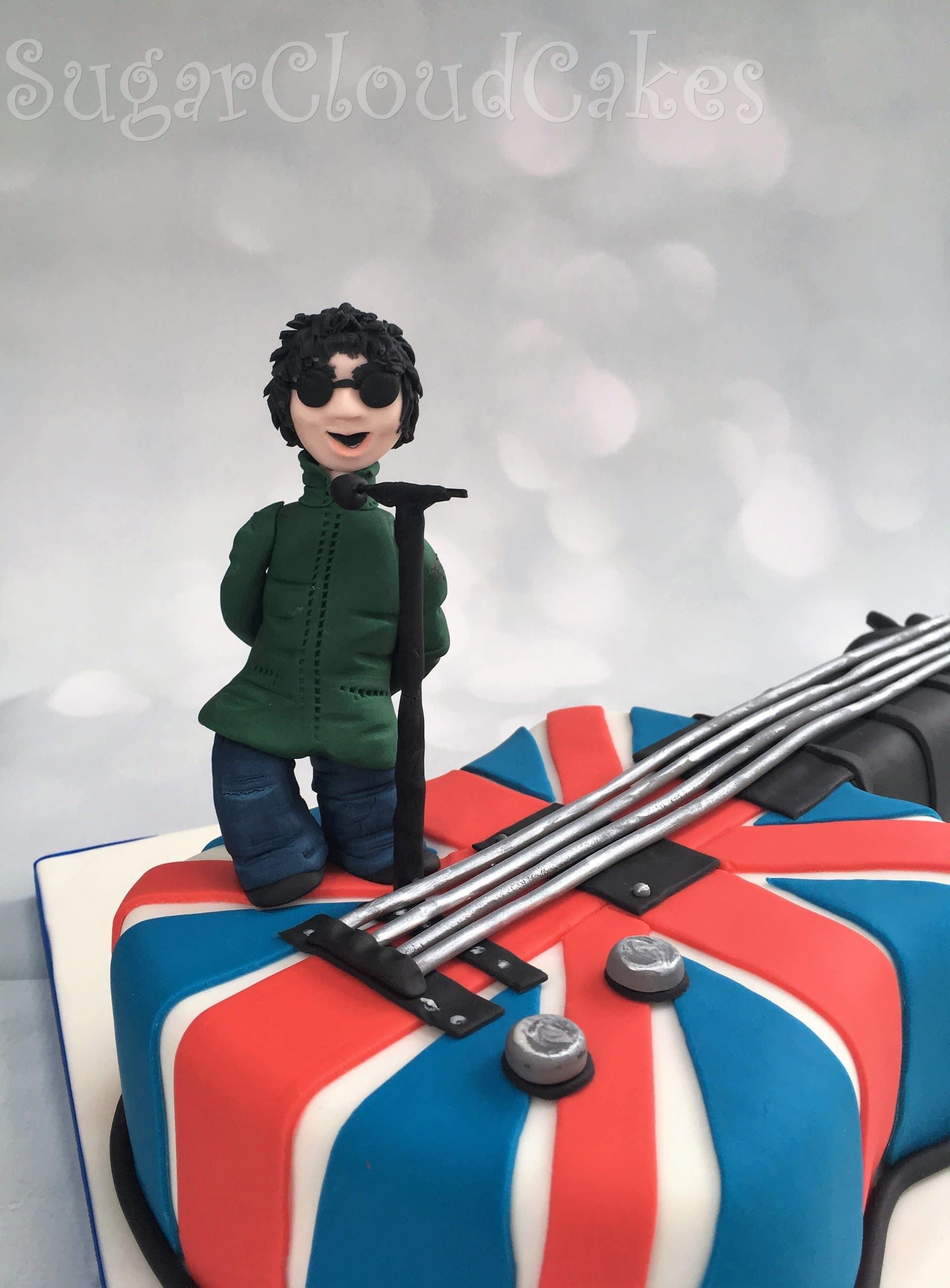 Liam Gallagher guitar shaped birthday cake