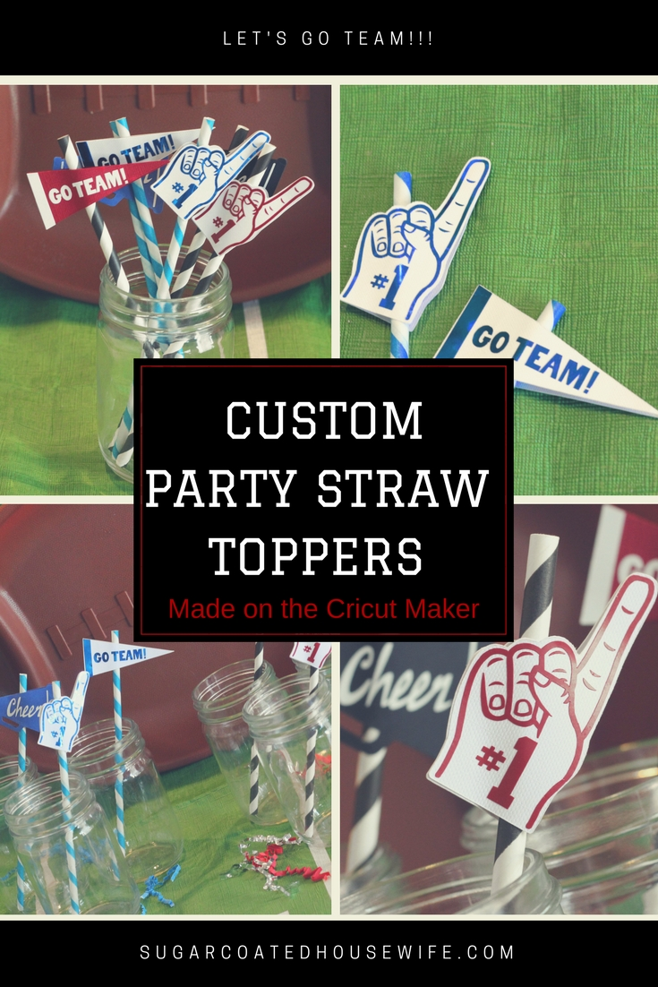 Customize your football viewing party with these cute straw toppers made on the Cricut Maker Machine. Visit sugarcoatedhousewife.com for more info