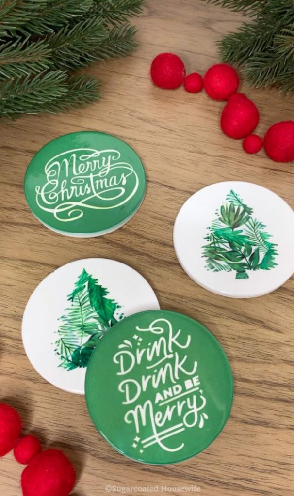 Christmas coasters using Cricut infusible ink and infusible ink coasters featured by Sugarcoated Housewife Utah craft blogger Come learn how to make these coasters with a step by step tutorial.