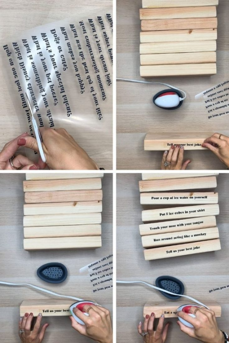 DIY outdoor game, Giant truth or dare jenga by sugarcoatedhousewife.com Utah blogger craft blogger get the full tutorial