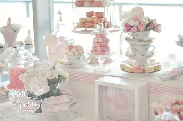 Pretty Pink Vintage Wedding Dessert Table