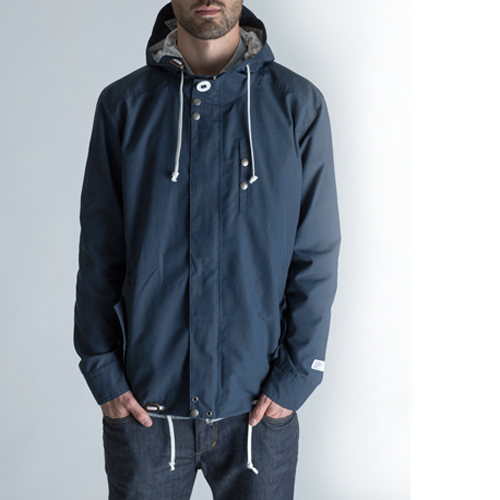 BLACKMANUFACTURING® WPD Parka, DWR Coated Waterproof Breathable Shell, 100% Nylon, 100% Cotton Gingham Lining/Camo Detailing, Riri 2-way Separating Zipper, Riri Zipper Chest Pocket, Leather Cordlocks, Adjustable Cuff, Hood/Torso/Waist Draw Cords, Navy and Wine. Made in the U.S.A.