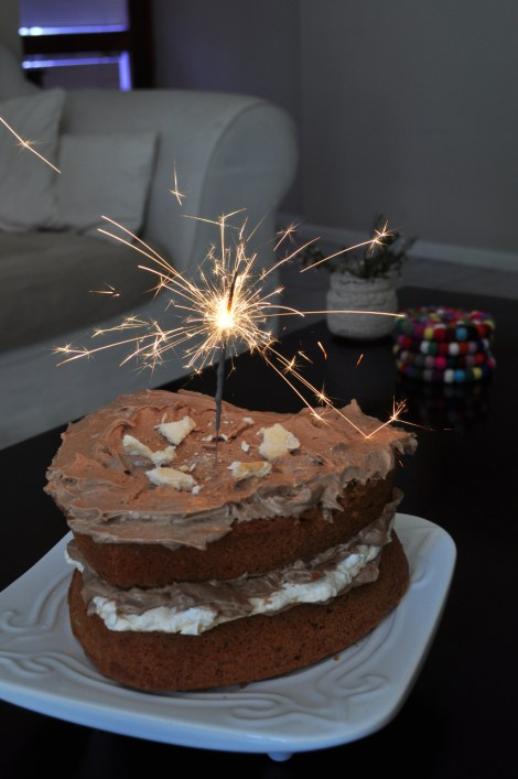 It's sparkler time - espresso cake with mocha butter cream and a crispy meringue layer... yum!