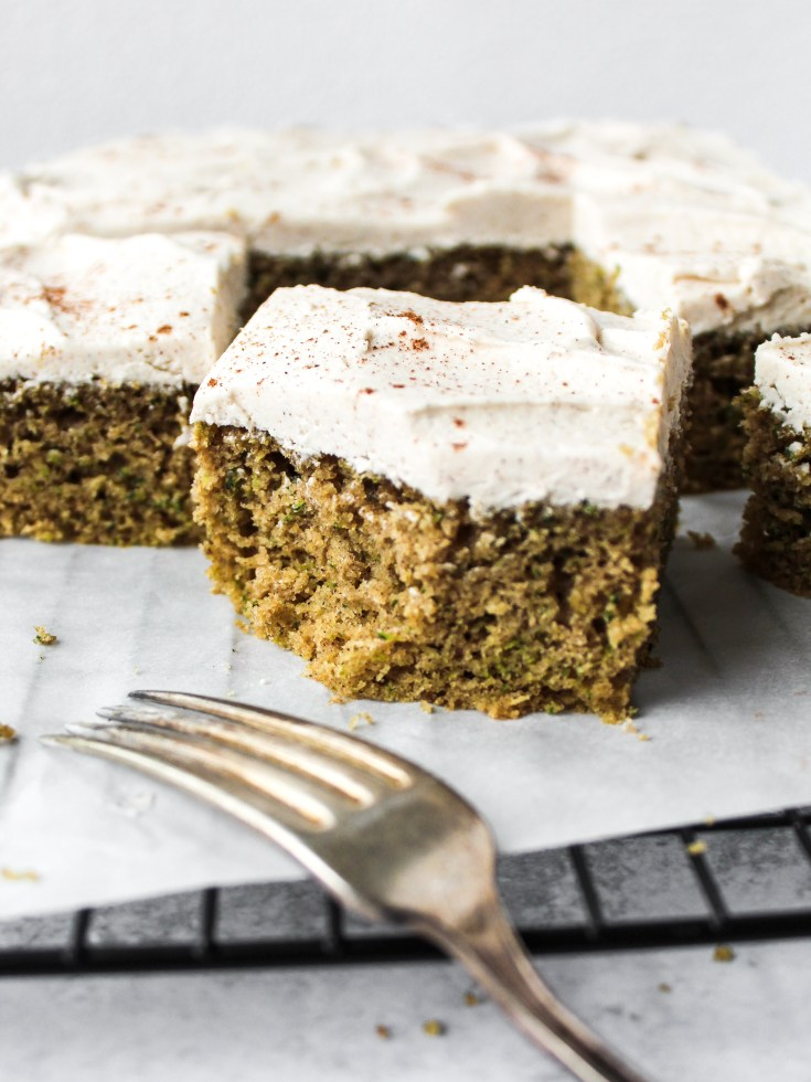 Spiced Zucchini Cake with Vegan Buttercream Frosting
