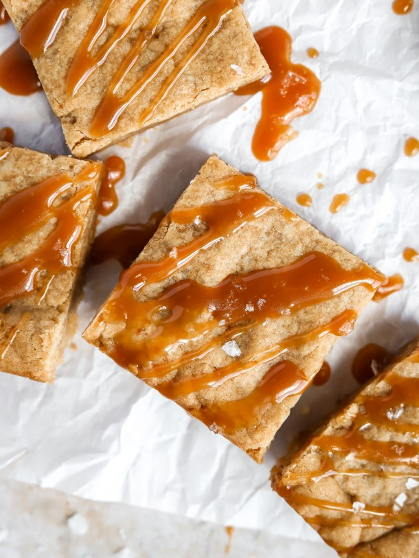 Vegan Blondies with Salted Caramel