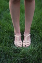 Nude colored strappy kitten wedges