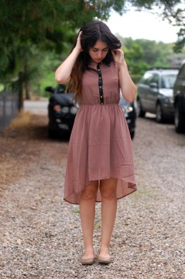 mocha dress with leather and gold details, high low hem