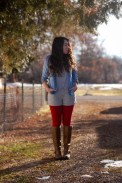 Tights, Overalls, Denim, Chambray, Red, Stripes