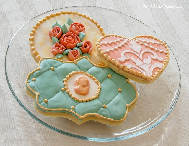 antique stencil roses broche sugar cookies royal icing