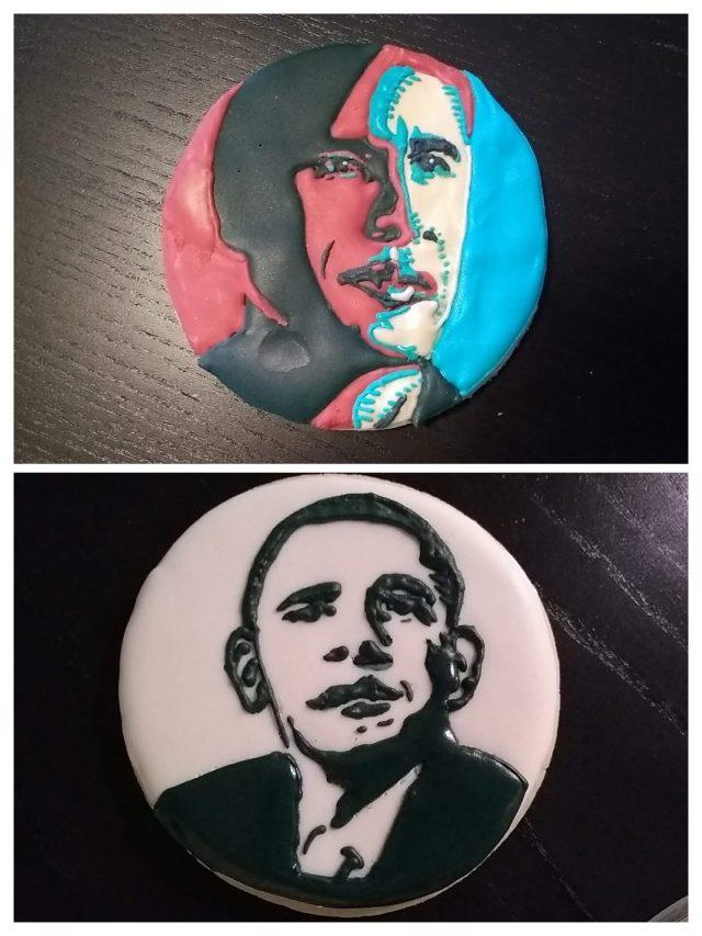 Obama sugar cookies royal icing