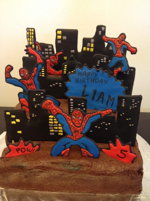 spiderman cake royal icing birthday