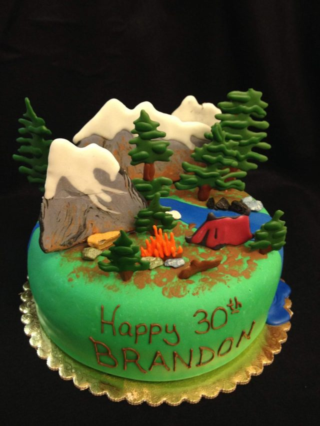 camping cake outdoor cake fondant royal icing trees mountains tent fire