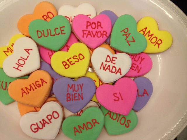 Spanish Conversation Hearts sugar cookie royal icing
