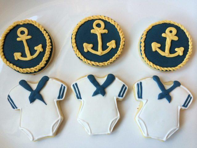 navy baby sugar cookies royal icing