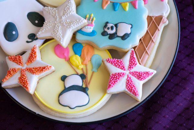 panda royal icing sugar cookies stars sprinkles
