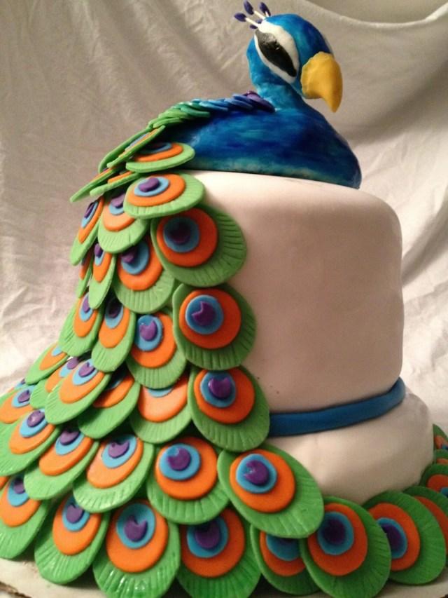 fondant peacock cake