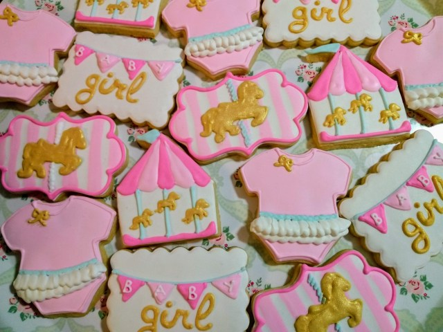 baby girl carousel royal icing sugar cookies