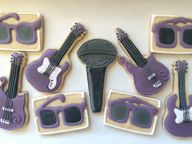 purple prince royal icing sugar cookies