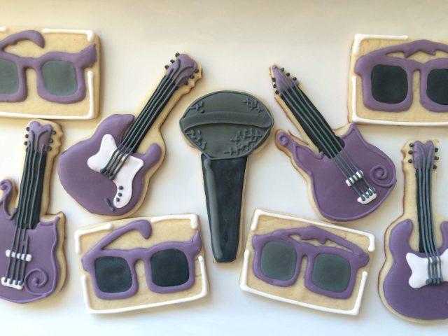 purple prince royal icing sugar cookies