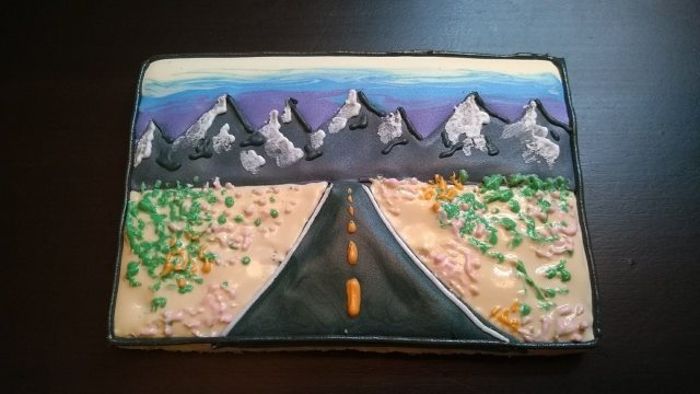 big sky highway royal icing cookie
