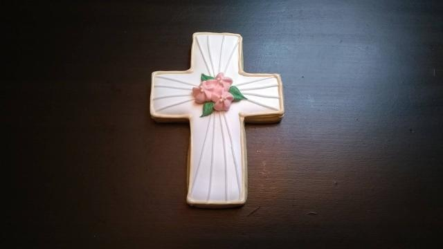 cross funeral royal icing sugar cookie