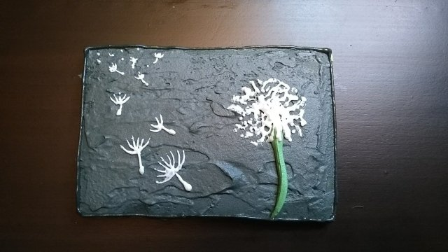 dandelion royal icing cookie