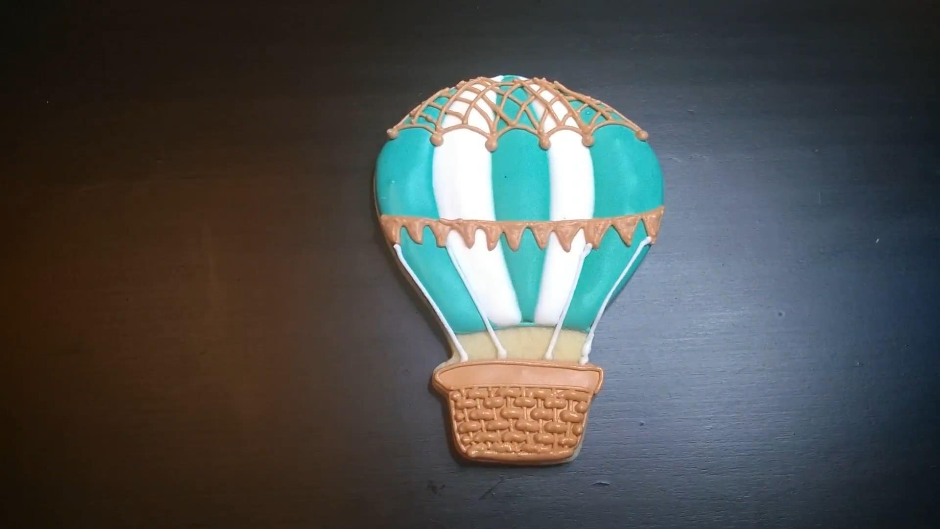 hot air balloon cookie teal