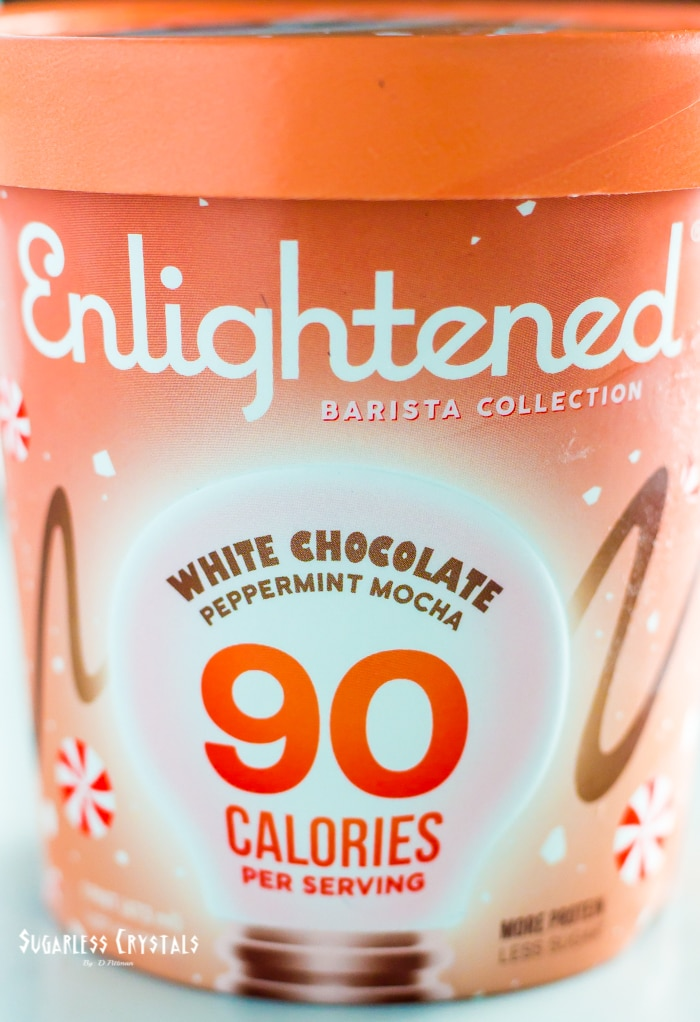 pint of Enlightened ice cream flavor white chocolate peppermint mocha from the barista collection