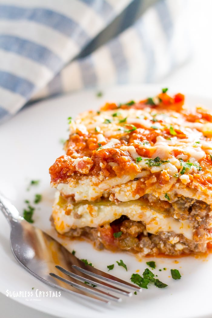 low carb cabbage lasagna on plate with fork