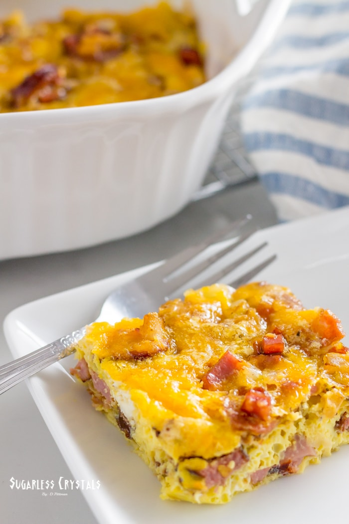 meat lovers scramble keto egg bake plated with fork