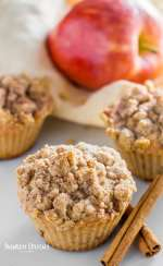 Healthy keto apple muffins with cinnamon sticks and gala apple