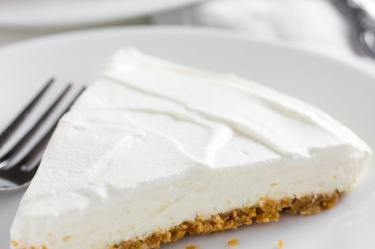 Classic keto no bake cheesecake slice on plate