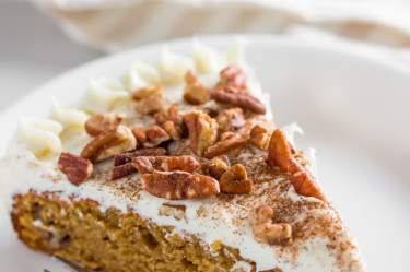 keto carrot cake slice on a plate