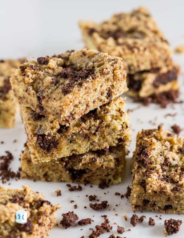 Cookies and cream keto brownies with broken cookie bits