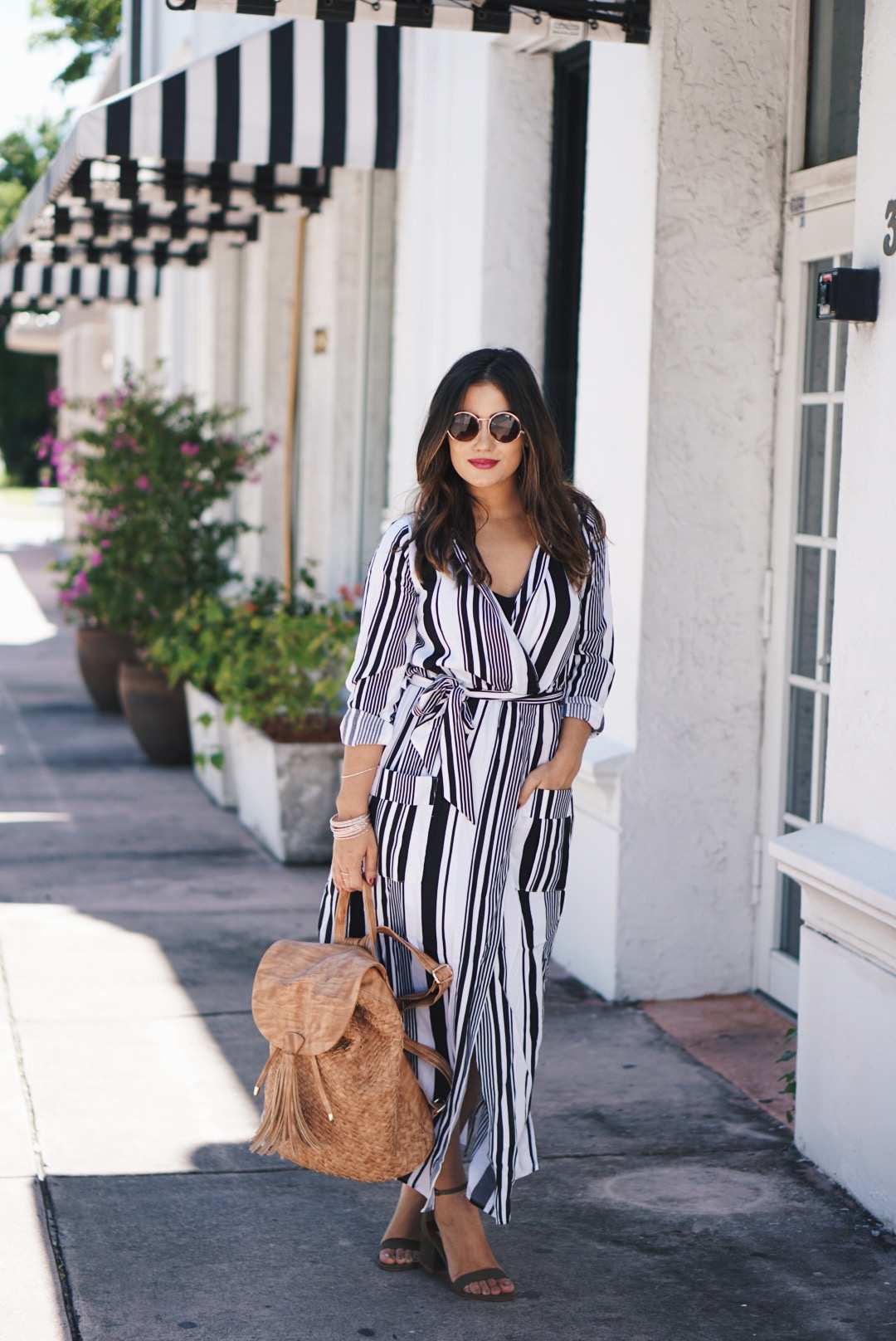 Black and White Stripe Wrap Dress