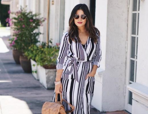 Black and White Stripe Wrap Dress
