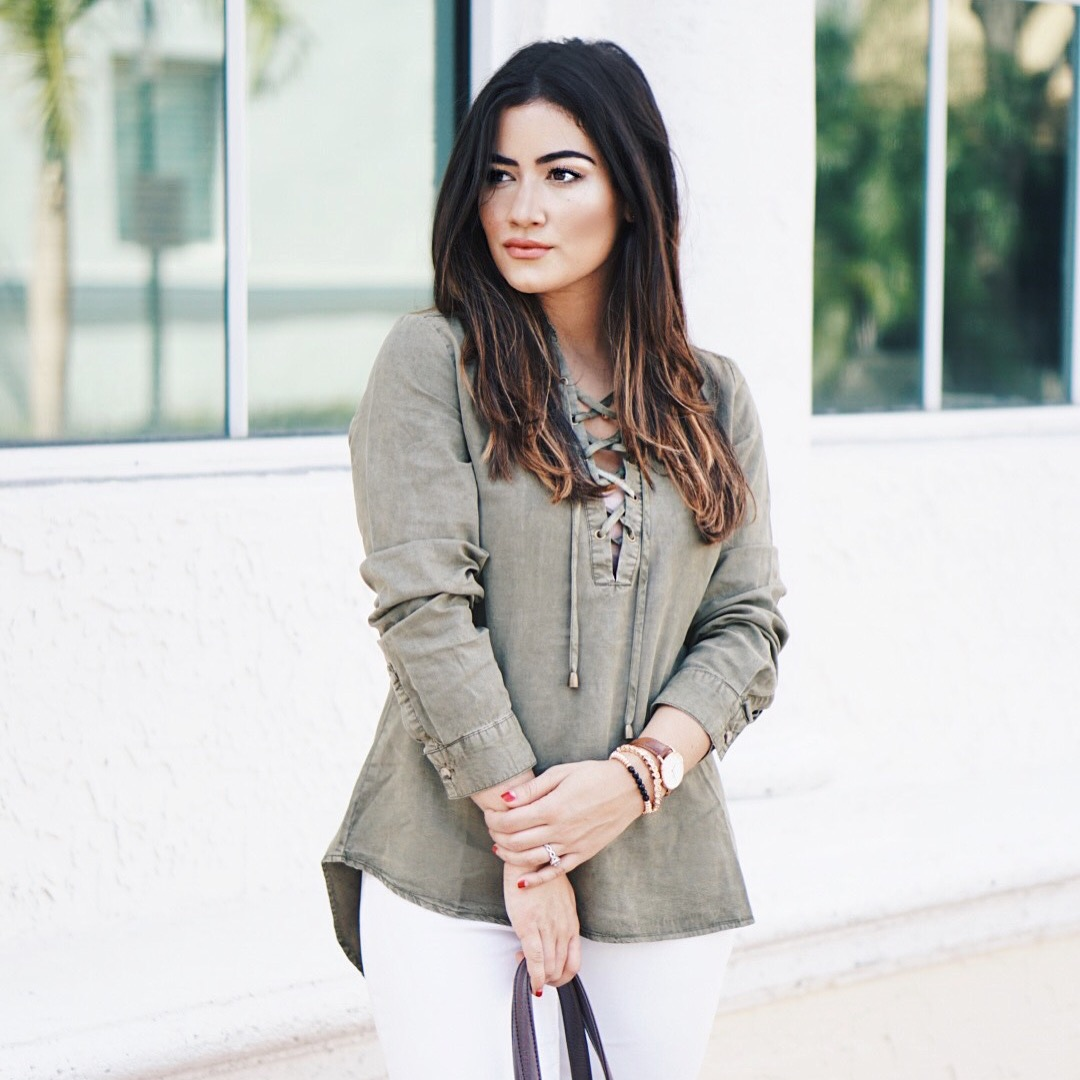 Krista Perez from Sugar Love Chic styles Twill Lace-Up Top By Sadie Robertson X Wild Blue