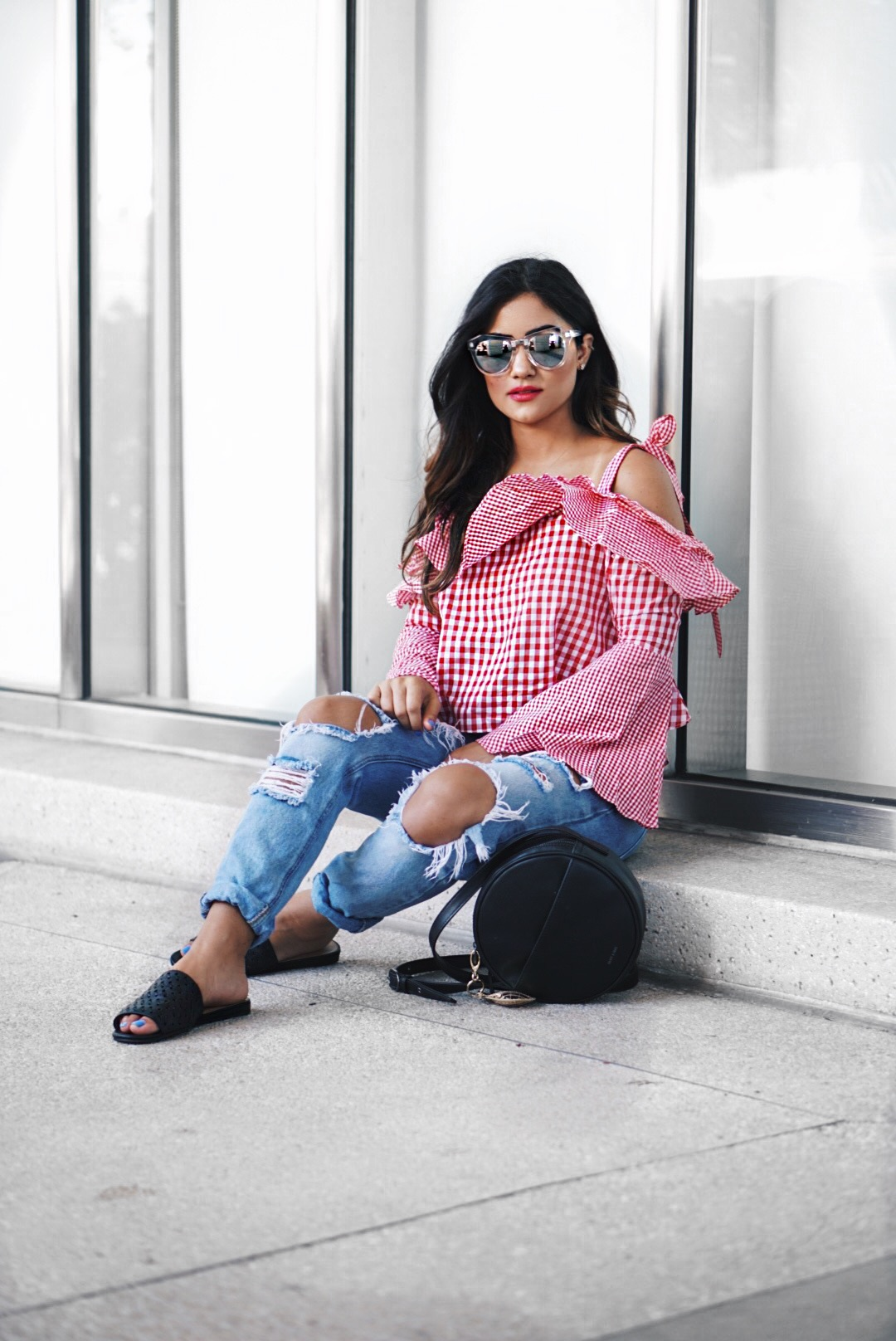 Sugar Love Chic blogger Krista Perez styles red gingham top and boyfriend jeans